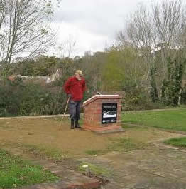 Photo of a Winscombe Walker stopping to discover history of Winscombe Station