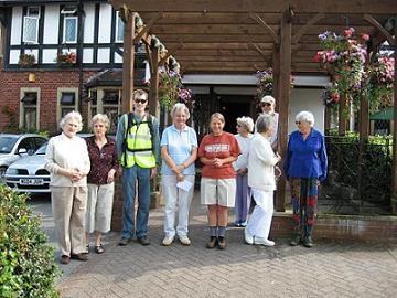 Photo of Winscombe Walkers meeting outside the village pub (The Woodborough)