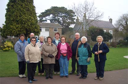 Photo of the Yatton walkers meeting at the Glebelands,(the Glebelands are opposite Yatton Church on the high street)