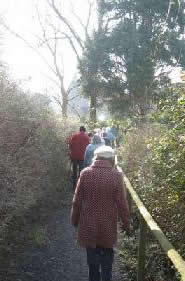 Winscombe Strollers descending a slope with a hand rail. Feb 08